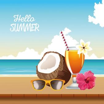 Olá cena sazonal de verão com coquetel tropical e coco