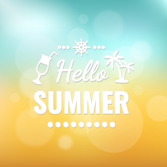 Olá, céu de verão e areia bokeh design