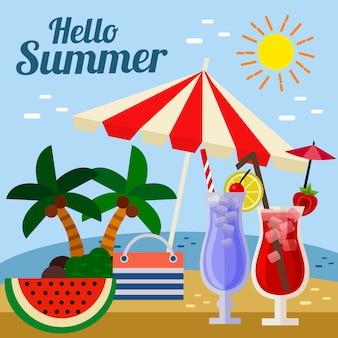 Olá cocktail de praia guarda-chuva de verão