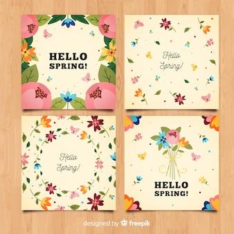 Olá coleção de cartões de primavera