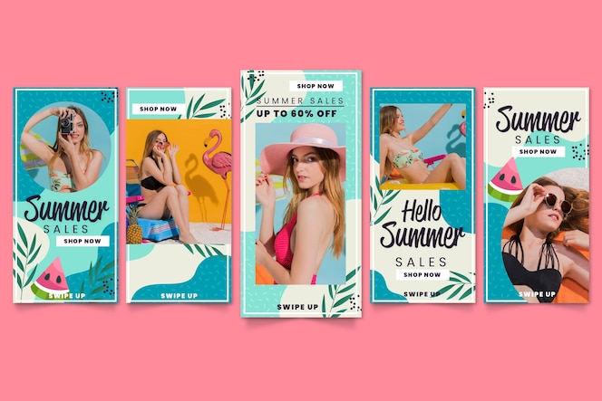 Olá coleção de histórias do instagram de venda de verão