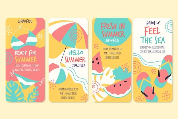 Olá coleção de histórias do instagram de verão