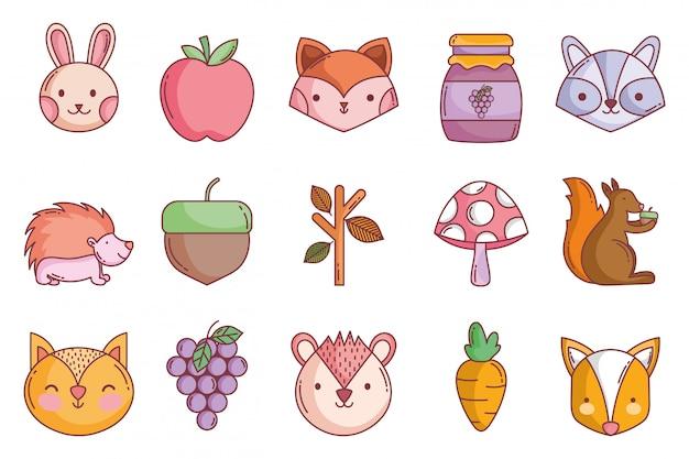 Olá coleção de ícones de outono