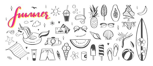 Olá coleção de ícones desenhados à mão de verão