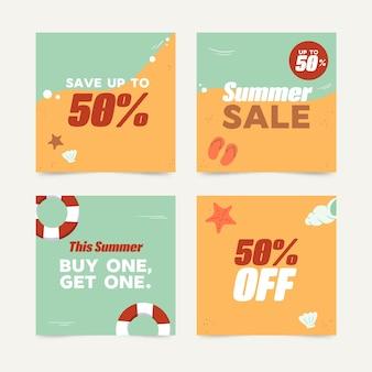 Olá coleção de postagens de venda de verão