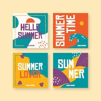 Olá coleção de postagens do instagram de verão