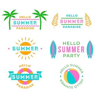 Olá coleção de rótulo de festa de verão