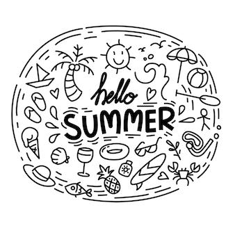 Olá coleção de verão. verão engraçado do doodle da ilustração.