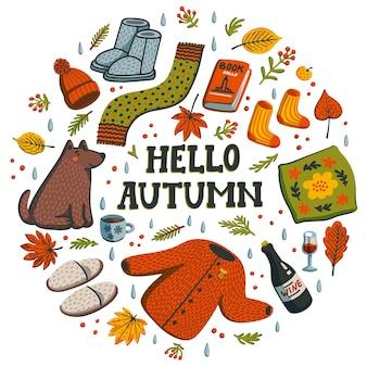 Olá, composição do círculo de outono