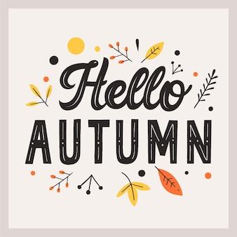 Olá conceito de letras de outono