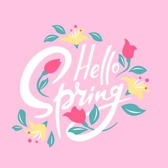 Olá conceito de letras de primavera