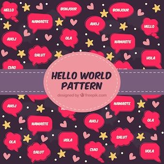 Olá conceito de padrão mundial
