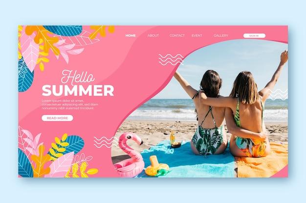 Olá conceito de página de destino de verão