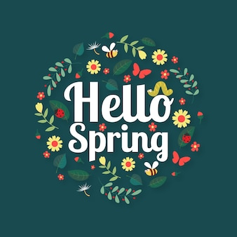 Olá conceito de papel de parede de primavera