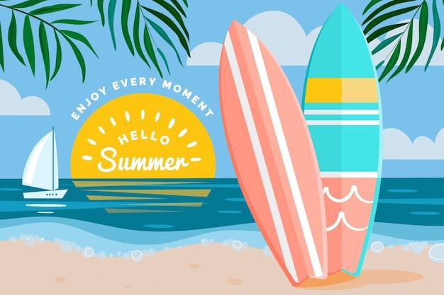 Olá conceito de verão em design plano