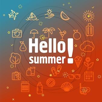 Olá conceito de verão. ícones de linha fina diferentes incluídos