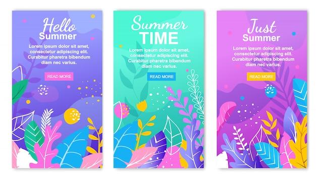 Olá conjunto de banner floral de horário de verão
