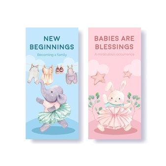 Olá conjunto de modelos de panfleto de bebê, estilo aquarela