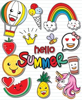 Olá conjunto de verão de adesivos coloridos