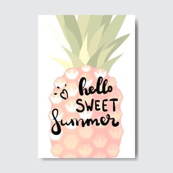Olá crachá de abacaxi de verão