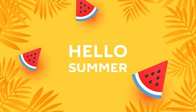Olá, desenho de banner de venda de verão com folhas tropicais e fatias de melancia madura