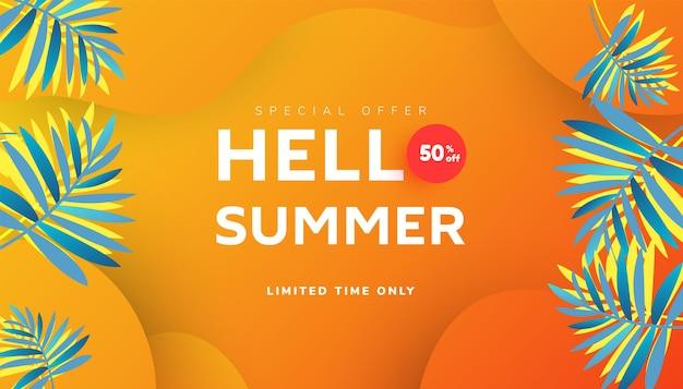 Olá, desenho de banner de venda de verão com folhas tropicais e fatias de melancia