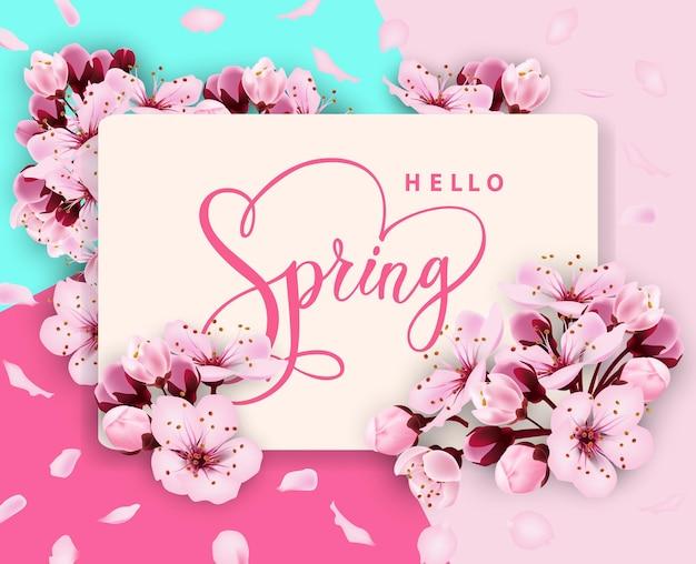 Olá, desenho de banner de vetor de primavera com flores, cereja e moldura venda de primavera