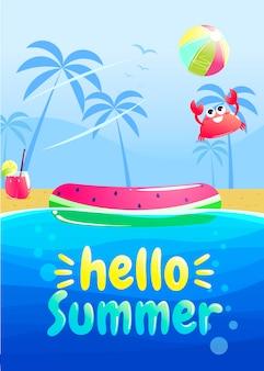 Olá design de banner de festa de verão. piscina no parque aquático.
