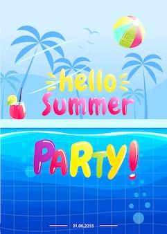 Olá design de banner de festa de verão