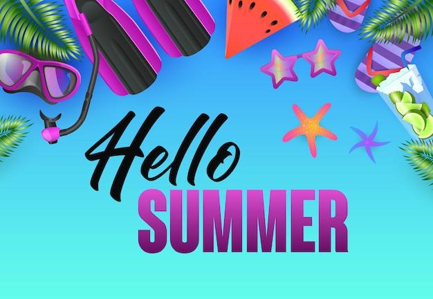 Olá design de cartaz brilhante de verão. estrelas do mar