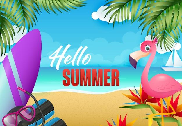 Olá design de folheto de verão. flamingo, prancha de surf
