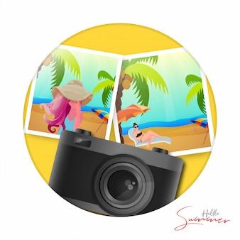 Olá design de ilustração de verão com câmera digital realista e fotos