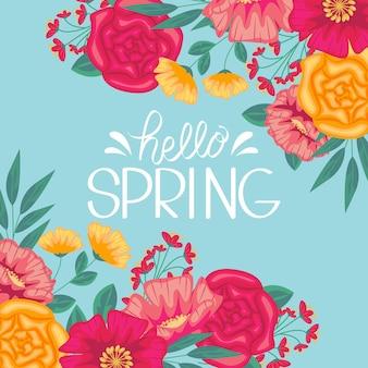 Olá design de letras artísticas de primavera