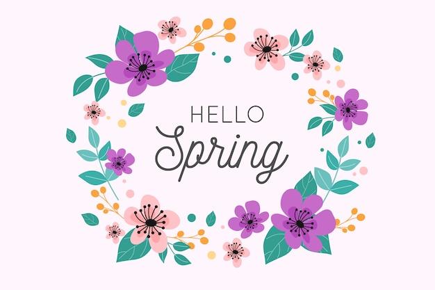 Olá design de letras de primavera com coroa de flores