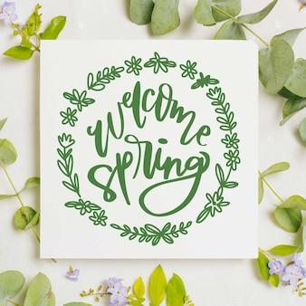 Olá design de letras de primavera com foto