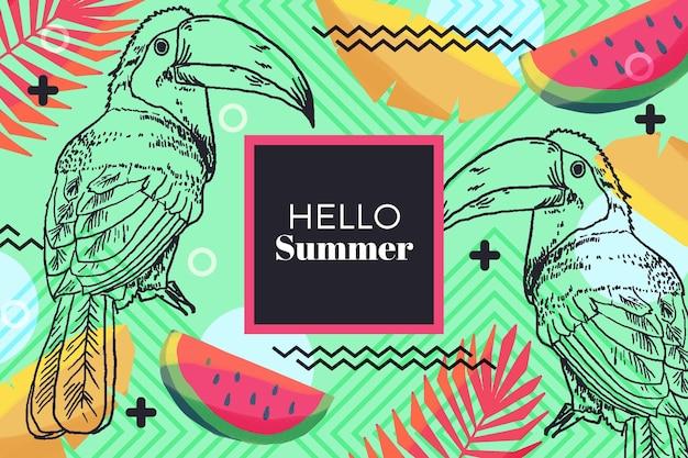 Olá design de mão desenhada verão