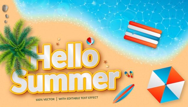 Olá design de página de destino de fundo de verão