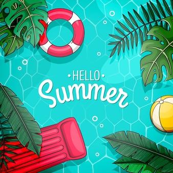 Olá design de verão com piscina