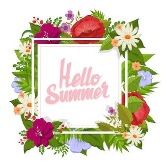 Olá design floral de verão para cartão