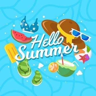 Olá design plano fundo de verão