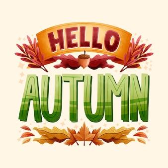 Olá design plano outono letras com elementos diferentes