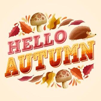 Olá design plano outono letras com elementos sazonais