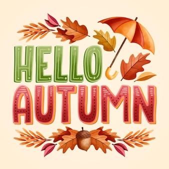 Olá design plano outono mensagem com elementos sazonais