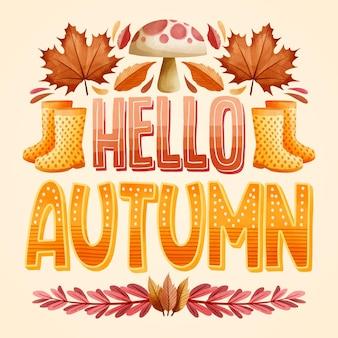 Olá design plano outono texto com elementos sazonais