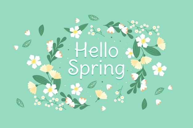 Olá design plano primavera conceito