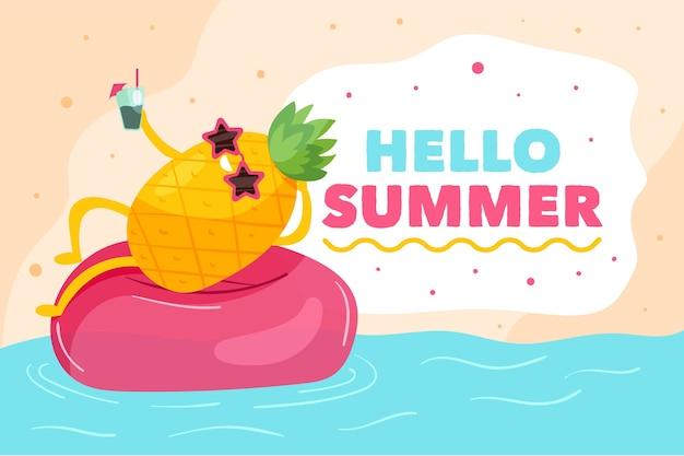 Olá design plano tema de verão