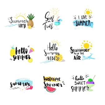 Olá distintivo de verão conjunto isolado rótulo design tipográfico, férias de temporada letras para logotipo, modelos, convite, cartão, impressões e cartazes.