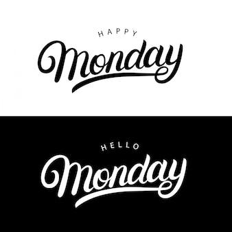 Olá e feliz segunda-feira mão escrita letras citações para cartazes, camisetas, cartões, convites, adesivos.