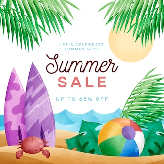 Olá e venda de verão em aquarela
