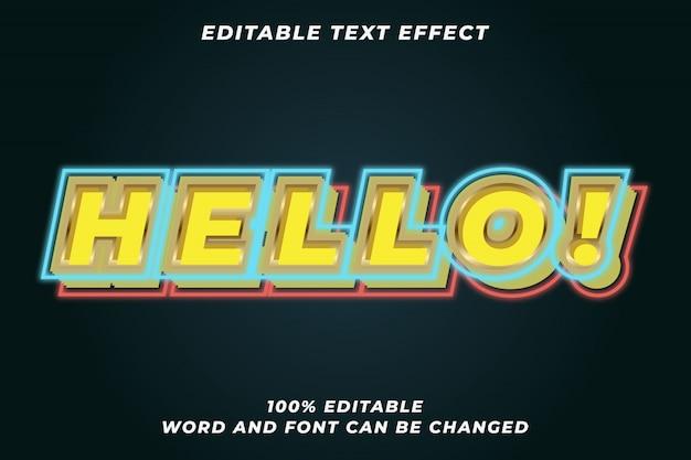 Olá efeito de estilo de texto de sinal de luz